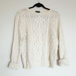 Lauren Ralph Lauren cable knit cream sweater
